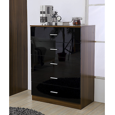 £97.49 • Buy High Gloss REFLECT 5 Drawer Chest - Quality Bedroom Furniture Black/Walnut
