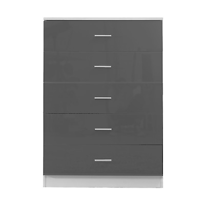 £97.49 • Buy High Gloss REFLECT 5 Drawer Chest - Quality Bedroom Furniture Gloss Grey / White