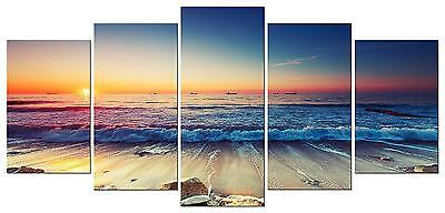 Wall Canvas Beach Sand Ocean Nautical Decor Art 5 Piece Framed Home Bedroom New  • 43.42£