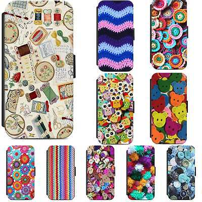 Knitting Crochet Sewing Haberdashery Flip Phone Case Cover IPhone Samsung • 7.50£