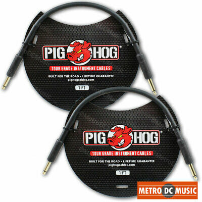 $ CDN17.89 • Buy 2 PIG HOG 1ft Patch Cable 1/4 Straight Instrument Guitar Cord Pedal PigHog 8mm