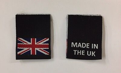 MADE IN THE UK Woven Clothing Garment Label, Loop Fold Label • 3.50£