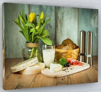 £34.89 • Buy Chic Kitchen Cafe Canvas Picture Print Wall Art Chunky Frame Large 259-2