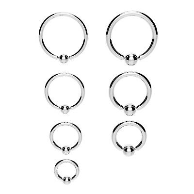 Steel BCR Ball Closure Captive Ring Lip Nose Ear Tragus Septum Ring 316 Steel • 1.39£
