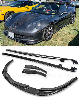 $729.98 • Buy ZR1 Style CARBON FIBER Front Lip Splitter Side Skirts For 05-13 Corvette C6 Z06