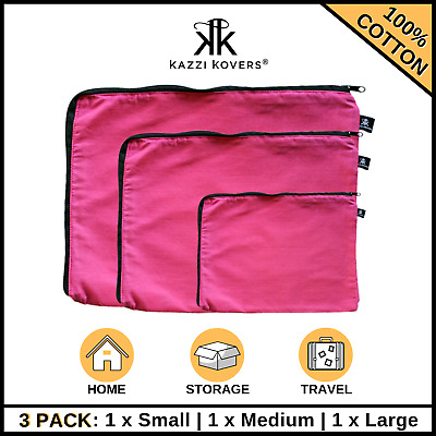 AU28.50 • Buy 3PK Packing Cubes Cell Travel Pouch Luggage Suitcase Organiser Storage Bag PINK