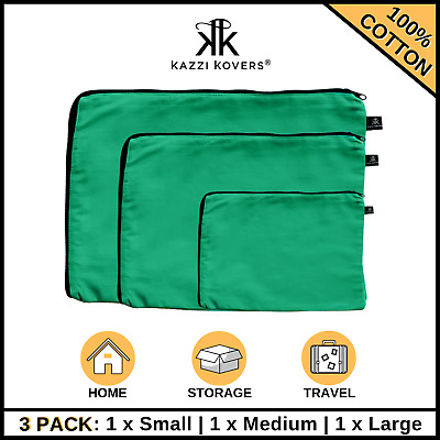 AU28.50 • Buy 3PK Packing Cubes Travel Luggage Organiser Suitcase Sets Pouch Storage Bag GREEN