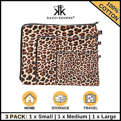 AU27.50 • Buy 3PK Packing Cube Cell COTTON Travel Pouches Suitcase Luggage Storage Bag LEOPARD