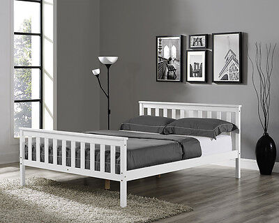 Wooden Bed Frame Solid Pine White Double King Single Size Mattress Shaker Style • 109.99£