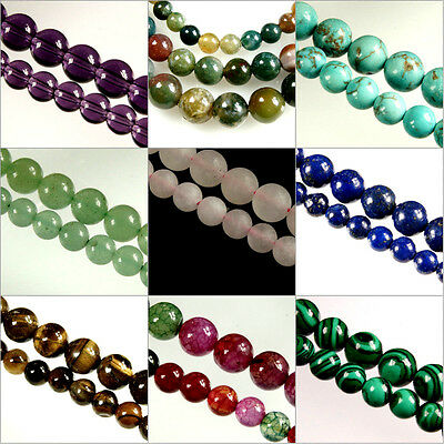 15.5'' STRAND ( Approx.) X ROUND~GEMSTONE~Crystal~BEADS~CHOOSE GEMSTONE~AND~SIZE • 2.69£