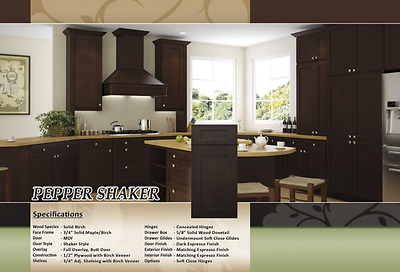 $1650 • Buy Forevermark Espresso Dark Shaker All Wood Top Quality RTA Kitchen Cabinets 10x10