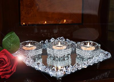 £10.99 • Buy Set Of 3 Diamante Tealight Candle Holders & Crystal Mirror Tray Wedding Center