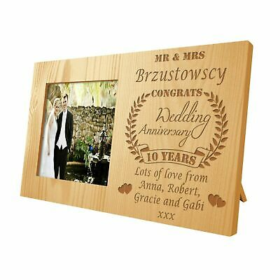 Engraved Tenth Wedding Anniversary Wooden Photo Frame Gift 10th (Tin) Present • 17.99£