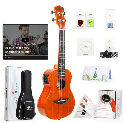 AU78.99 • Buy Aklot Electric Ukulele Solid Mahogany Tenor Soprano Concert Uke With EQ