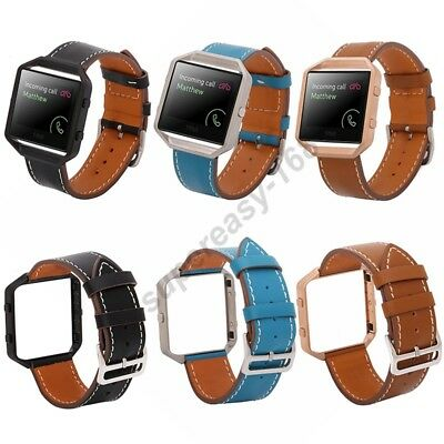 AU16.39 • Buy Synthetic Leather Leather Wrist Watch Strap Band + Metal Frame For Fitbit Blaze