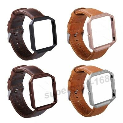 AU17.19 • Buy Classic Genuine Leather Watch Band Strap Metal Frame For Fitbit Blaze Watch