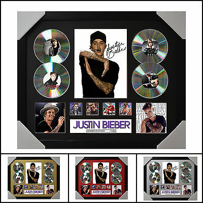 AU100 • Buy Justin Bieber 4CD Signed Framed Memorabilia Limited Ed. 2017-Multiple Variations