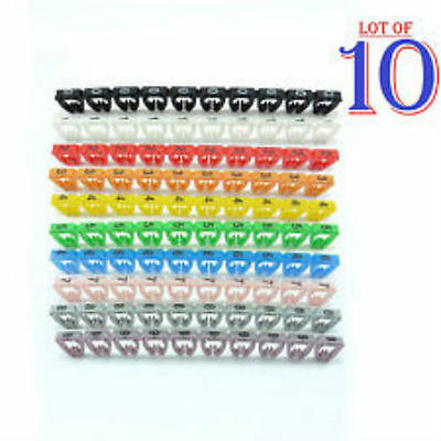 100 X Cable Markers Clip Colourful C-Type Marker Number Tag Label  4-6mm D13-New • 2.95£