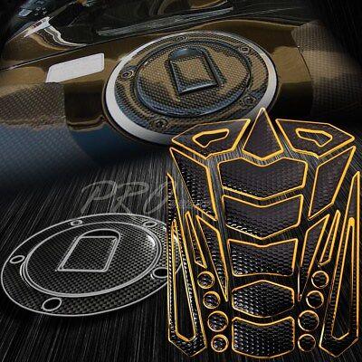 $28.88 • Buy Chromed Gold Tank Pad+Fuel Cap Cover For 04-05 Ninja ZX-10R/6R/9R Carbon Look
