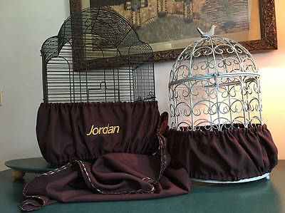 $39.98 • Buy Handcrafted Brown Fabric Bird Cage Seed Catcher Skirt Guard Or Cover XS-XXL