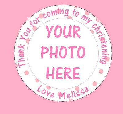 48 X Personalised Christening Birthday Party Bag Picture Photo Stickers Labels • 2.59£