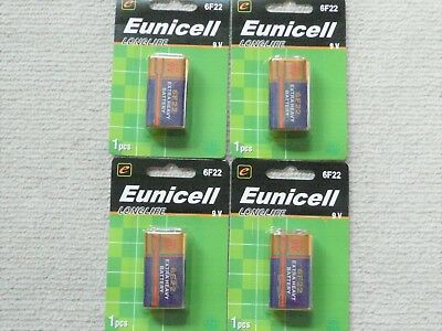 AU7.95 • Buy 4 X Eunicell Heavy Duty 9V Battery 6F22 Carbon-zinc  Smoke Alarm Batteries