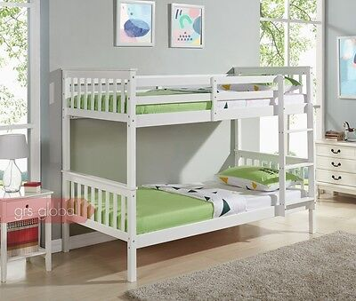 Wooden Bunk Bed Single Frame 3FT Size White Pine And With Mattress Kids Bunkbeds • 369.99£
