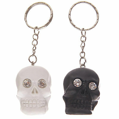 2 X Crystal Eyed Black And White Skull Keyring Novelty Gift Gothic Evil Zombie • 9.03£