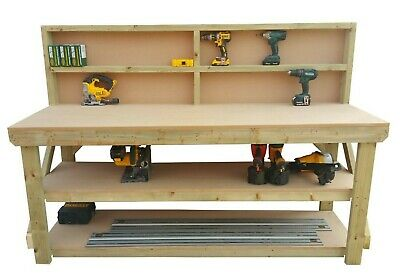 £172.43 • Buy Work Bench MDF Top Wooden Industrial Garage Heavy Duty Table - Suitable For Vice