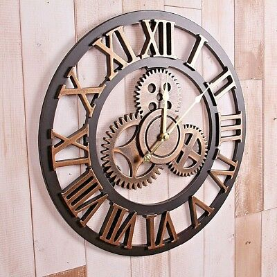 AU39 • Buy Handmade Clock Large Gear Wall Clock Vintage Rustic Wooden Luxury Art Vintage