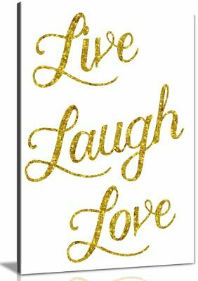 Live Laugh Love Glittery Gold Faux Canvas Wall Art Picture Print • 11.99£
