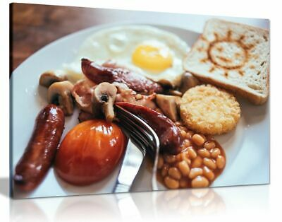 £15.99 • Buy Traditional English Breakfast Cafe Restaurant Food Canvas Wall Art Picture Print