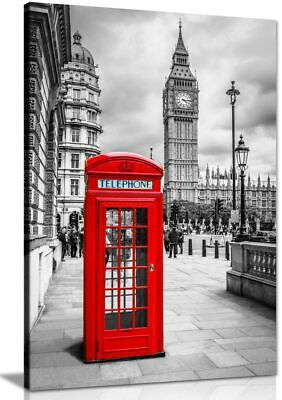 £11.99 • Buy London Red Telephone Box Canvas Wall Art Picture Print
