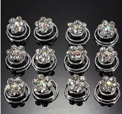 £3.90 • Buy Hair Jewels.springs.coils.spirals.AB /diamante. Pack Of 12.bridal.brides.party.