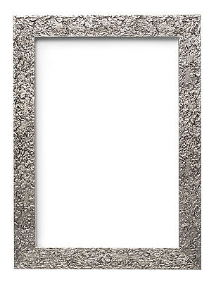 £12.30 • Buy Textured Flat Frame Photo Picture Frame Poster Frames Wall Decor A4 A3 Silver