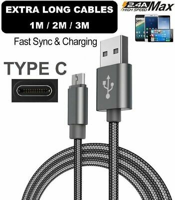 Long 2M/3M USB Type C 3.1 Fast Data Charger Cable Lead For Samsung Galaxy S8 S8+ • 2.49£