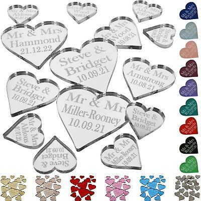 Personalised Wedding Love Heart Mr & Mrs Table Decorations Mini Favours Confetti • 10.99£