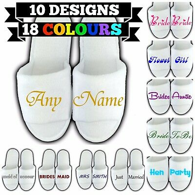 £2.99 • Buy Personalised Spa Slippers Open Toe Any Name Message Gift Wedding Guest Novelty