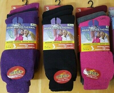 £4.39 • Buy 3 Pairs Ladies/girls Thick Thermal Winter Socks Cosy Fully Terry Uk 4-7 ( 80)