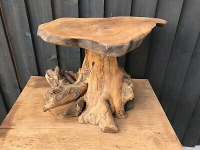 £69.99 • Buy Teak Tree Root Side Table Coffee Carved Wood Reclaimed Plant Cake Stand Rustic