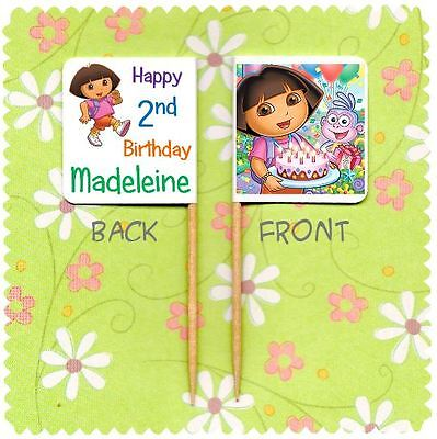 20 PERSONALISED DORA THE EXPLORER CUP CAKE FLAG Party Pick Topper Birthday • 2.99£