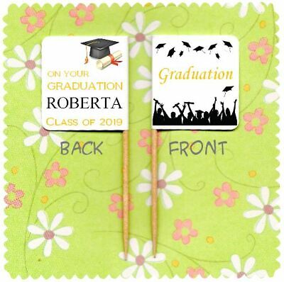 20 PERSONALISED GRADUATION CUP CAKE FLAG Party Topper Decoration Food Pick  • 2.99£