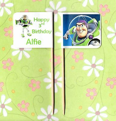 20 PERSONALISED BUZZ LIGHTYEAR TOYSTORY CUP CAKE FLAG Party Pick Topper Birthday • 2.99£