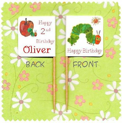20 PERSONALISED THE HUNGRY CATERPILLAR CUP CAKE FLAG Party Pick Topper Birthday • 2.99£