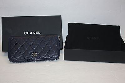 289e234812f6 CHANEL Italy Zip Around Long Wallet Textured Leather Navy Blue W/Box & Dust  Bag