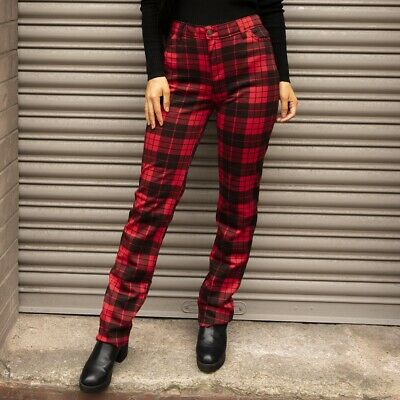 £27 • Buy Red Tartan Checked Trousers Slim Plaid Pants (Made In The UK)