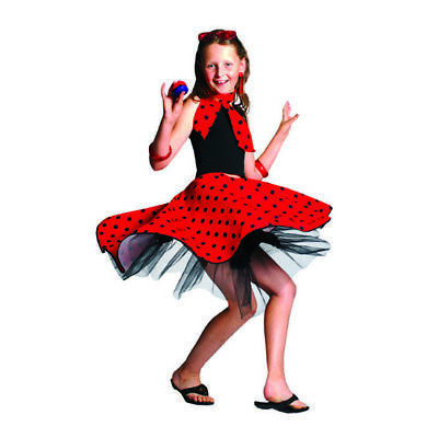 50's Child Polka Dot Circle Skirt And Neck Scarf Quality Sock Hop Halloween M-L • 14.29£