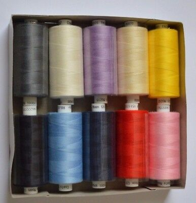 10x Assorted Coats Moon Thread Mix Polyester Sewing Overlocking 1000 Yards 120's • 9.50£