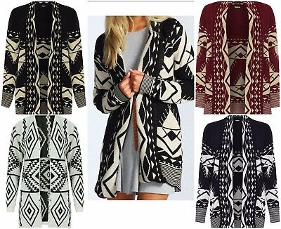 £13.99 • Buy Ladies Women Aztec Print Knitted Open Cardigan Long Sleeves Fashion Sweater Top