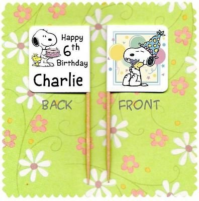 £3.25 • Buy 20 PERSONALISED SNOOPY CUP CAKE FLAG Party Pick Topper Decoration Birthday Food